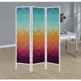 Coaster Multicolored Wood Geometric Print Three-panel Folding Screen