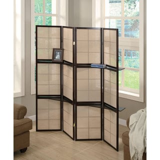 Cappuccino Four Panel Folding Screen with Wood Shelves