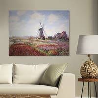 Claude Monet 'Fields of Tulip With the Rijnsburg Windmill, 1886' Premium Hand-embellished Canvas