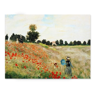 Claude Monet 'Poppy Field' Embellished Canvas Art Print