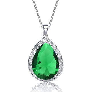 Collete Z Sterling Silver Emerald Cubic Zirconia Pendant