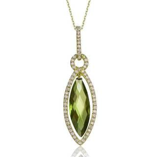 Collete Z Cubic Zirconia Sterling Silver Gold Plated Peridot Teardrop Pendant