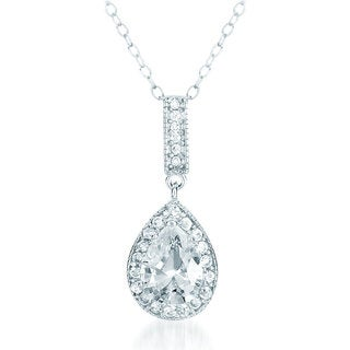 Collete Z Cubic Zirconia Sterling Silver Rhodium Plated Pear Shape Drop Pendant
