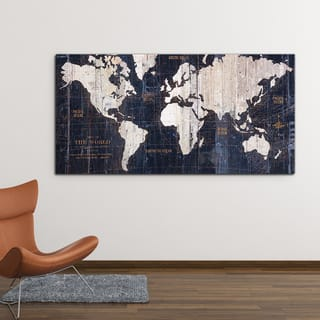 Map art gallery for less overstock wexford home avery tillmo old world map blue gallery wrapped canvas gumiabroncs Image collections