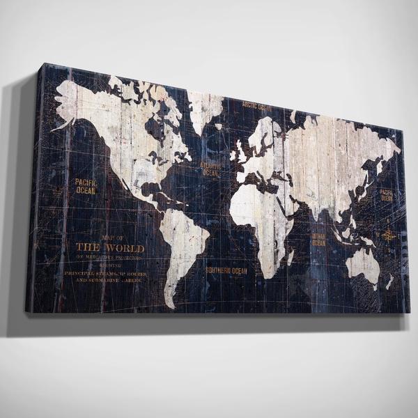Hand Embellished Old World Map Blue Canvas Art