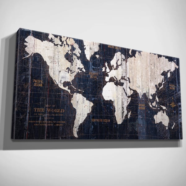 Shop Hand Embellished Old World Map Blue Canvas Art - On Sale - Free Canvas World Maps For Sale on