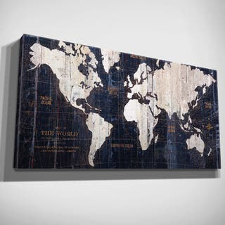 Hand Embellished Old World Map Blue Canvas Art