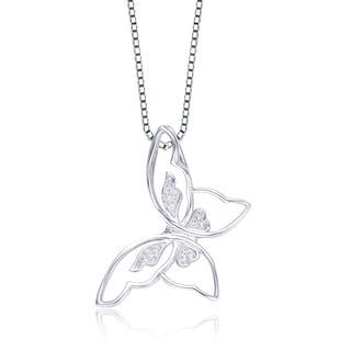 Collete Z Cubic Zirconia Sterling Silver Rhodium Plated Butterfly Pendant