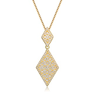 Collete Z Cubic Zirconia Sterling Silver Gold Plated Diamond Shape Drop Pendant