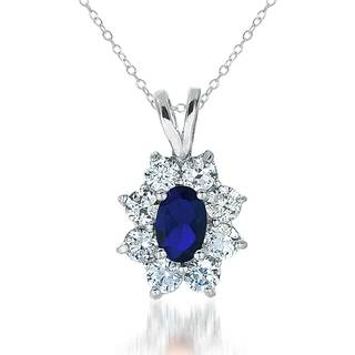 Collete Z Cubic Zirconia Sterling Silver Rhodium Plated Sapphire Flower Shape Drop Pendant