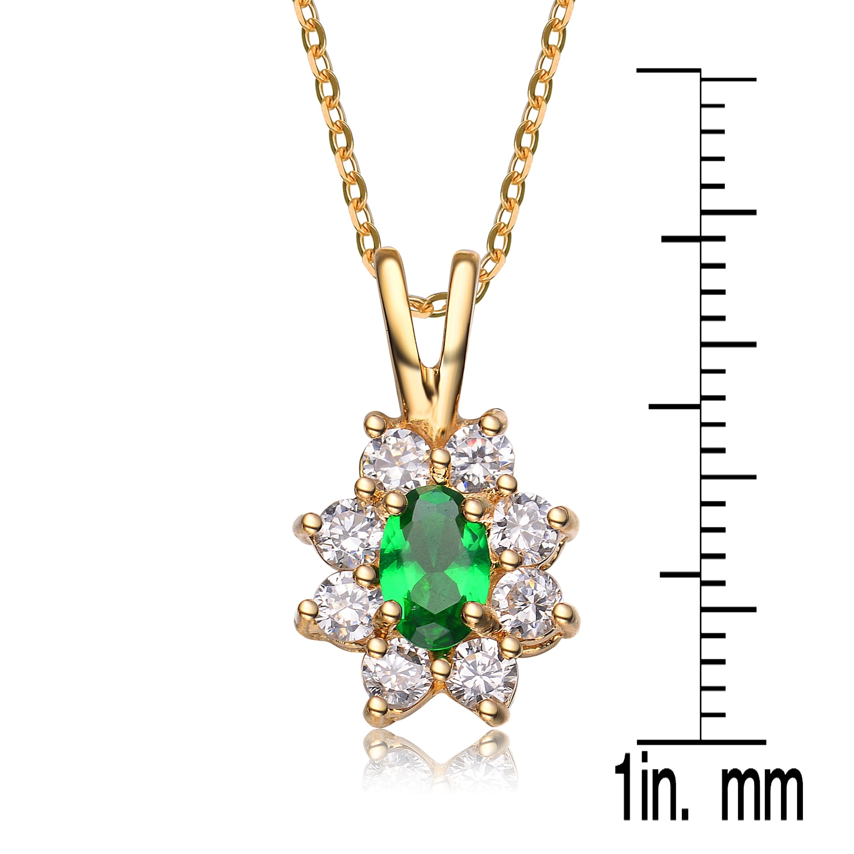 Sterling Silver Flower Pendant with Yellow CZ
