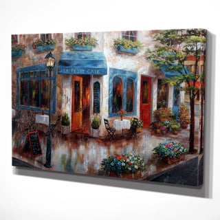 'Le Petit Cafe' Gallery-wrapped Hand-embellished Print on Canvas