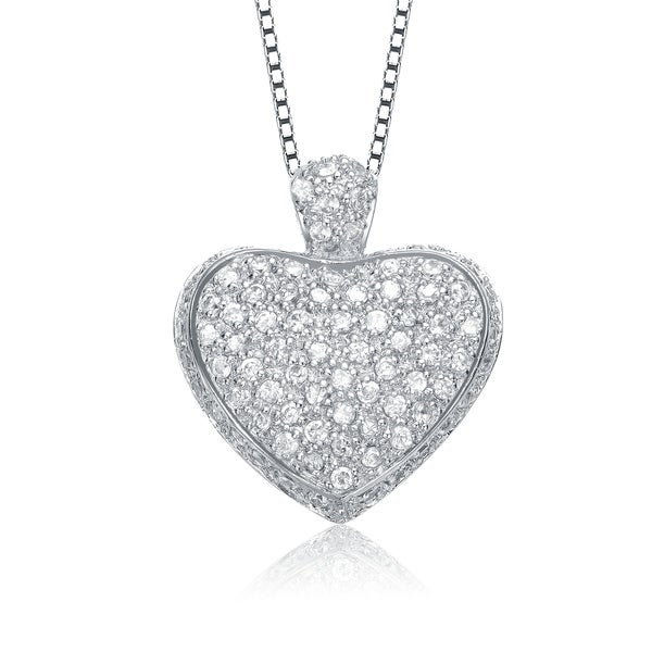 Collete Z Sterling Silver With Black And Rhodium Plated Clear And Black Round Cubic Zirconia Studded Heart Drop Pendant by Collette Z