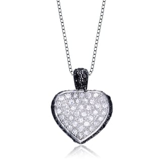 Collete Z Cubic Zirconia Sterling Silver Black And Rhodium Plated Heart Shape Drop Pendant