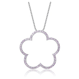 Collete Z Sterling Silver Pink Cubic Zirconia Flower Shape Necklace