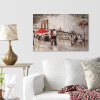 'New York Romance' Gallery-wrapped Hand-embellished Print on Canvas