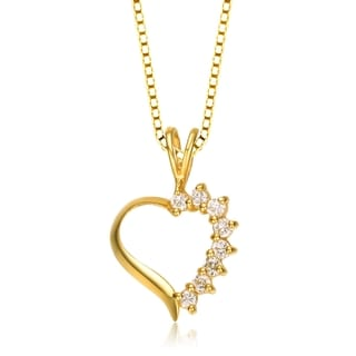 Collete Z Cubic Zirconia Sterling Silver Gold Plated Heart Shape Pendant