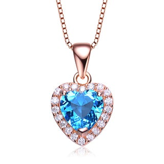 Collete Z Cubic Zirconia Sterling Silver Rose Plated Blue Topaz Heart Shape Drop Pendant
