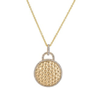 Collete Z Cubic Zirconia Sterling Silver Gold Plated Round Hammered Drop Pendant