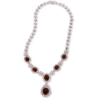 Collete Z Cubic Zirconia Sterling Silver Rhodium Plated Ruby Fancy Necklace