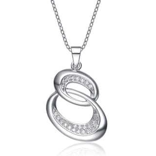 Collete Z Cubic Zirconia Sterling Silver Rhodium Plated Double Circle Micro Setting Drop Pendant