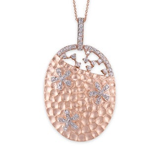 Collete Z Cubic Zirconia Sterling Silver Rose Plated Hammered Oval Shape Pendant