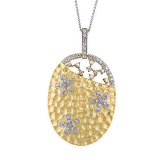 Collete Z Cubic Zirconia Sterling Silver Gold Plated Hammered Oval Shape Pendant