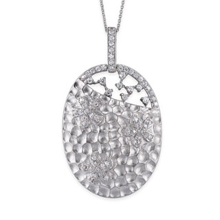 Collete Z Cubic Zirconia Sterling Silver Rhodium Plated Hammered Oval Shape Pendant