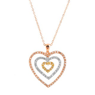 Collete Z Cubic Zirconia Sterling Silver Tri Color Outlined Heart Shape Drop Pendant