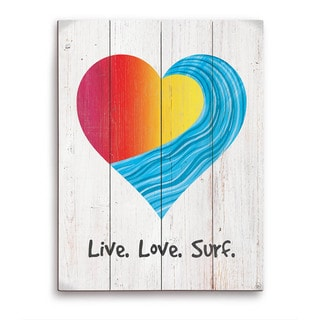 Live Love Surf Red To Yellow On Wood Wooden Wall Art