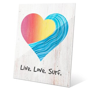 Live Love Surf Red To Yellow On Wood Wall Art on Glass