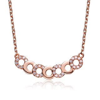 Collete Z Cubic Zirconia Rose Plated Silver Round Circle Link Necklace