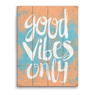 Good Vibes Only Orange Wooden Wall Art