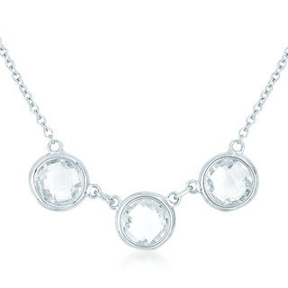 Collete Z Cubic Zirconia Sterling Silver Rhodium Plated 3 Round Clear Stone Necklace