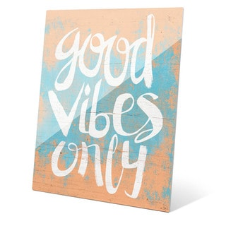 Good Vibes Only Orange Wall Art on Glass