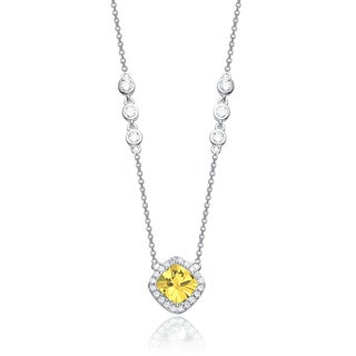Collete Z Cubic Zirconia Sterling Silver Rhodium Plated Yellow Square Necklace