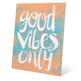 Good Vibes Only Orange Wall Art on Metal