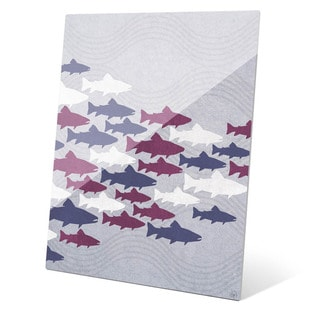 Purple Fish Shoal Wall Art on Glass