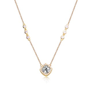 Collete Z Cubic Zirconia Sterling Silver Gold Plated Square Necklace