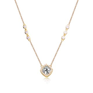 Collete Z Cubic Zirconia Sterling Silver Gold Plated Square Necklace - White