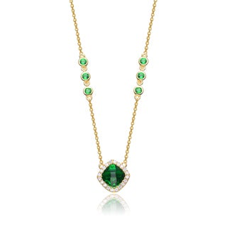 Collete Z Cubic Zirconia Sterling Silver Gold Plated Emerald Square Necklace