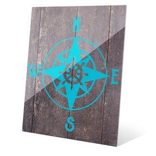 Compass - Blue Wall Art on Glass