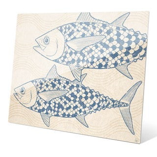 Two Blue Tuna Wall Art on Glass