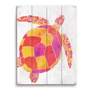 Watercolor Turtle Orange Red And Purple Wooden Wall Art