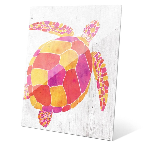 Watercolor Turtle Orange Red And Purple Wall Art on Acrylic