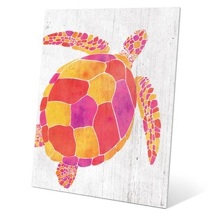 Watercolor Turtle Orange Red And Purple Wall Art on Metal
