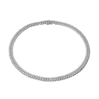 Collete Z Cubic Zirconia Sterling Silver Rhodium Plated Two Row Bezzel Necklace