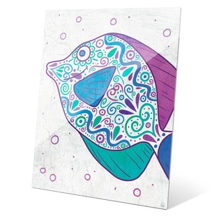 Watercolor Tang Teal Purple And Blue Wall Art on Glass
