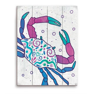 Watercolor Crab Blue Purple And Teal Wooden Wall Art
