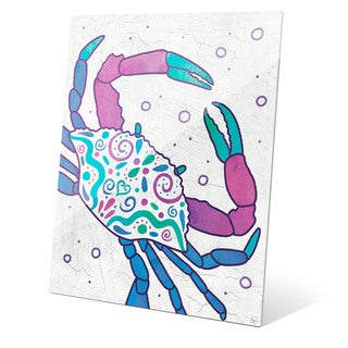 Watercolor Crab Blue Purple And Teal Wall Art on Glass